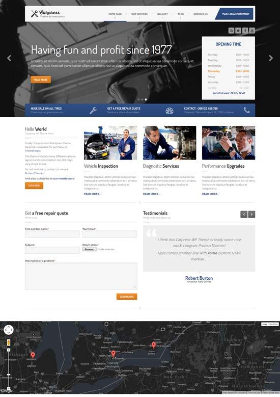 Carpress-WordPress-Theme-Mechanic-Workshops
