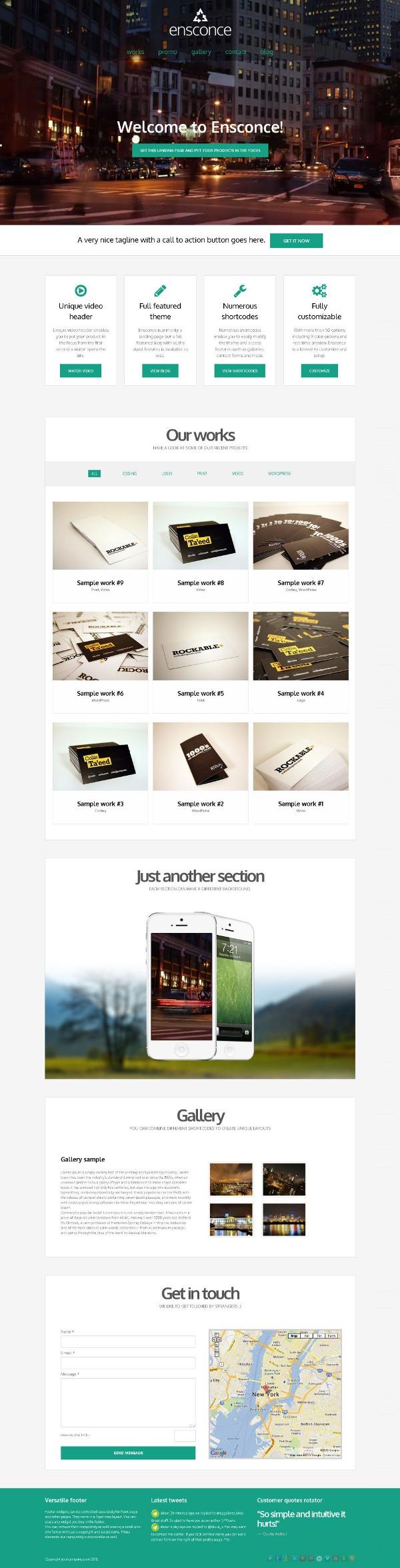 Ensconce – Responsive WordPress Video Landing Page