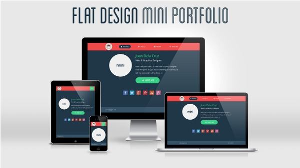 Flat Design Portfolio Template – Bootstrap 2.3.2