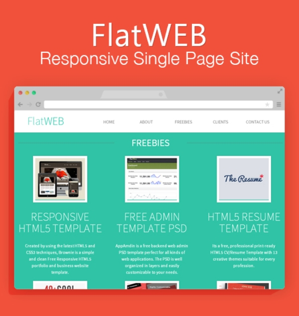 FlatWEB – A Single Page Responsive Free Website HTML Template