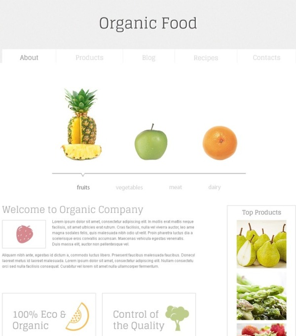 Free Minimal HTML5 Template for Organic Food Website