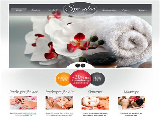Free Template for Spa Salon with Zoomer Effect