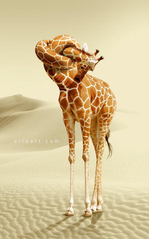 Giraffe neck knot Photoshop tutorial