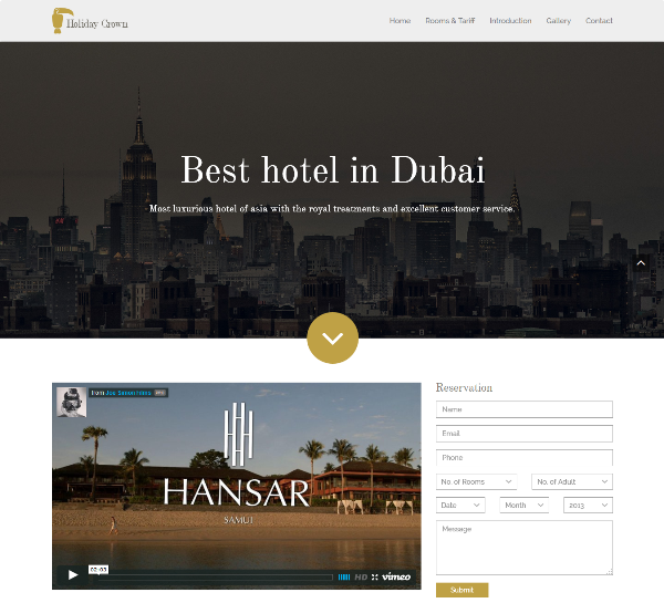 Holiday Crown – hotel bootstrap template
