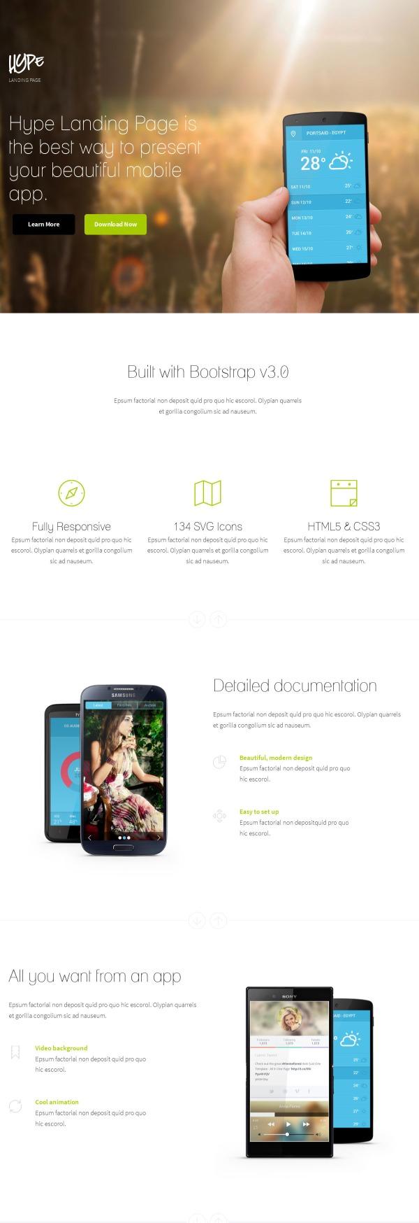 Hype - WordPress App Landing Page