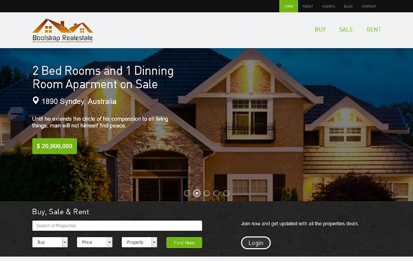Real estate – free bootstrap real estate theme