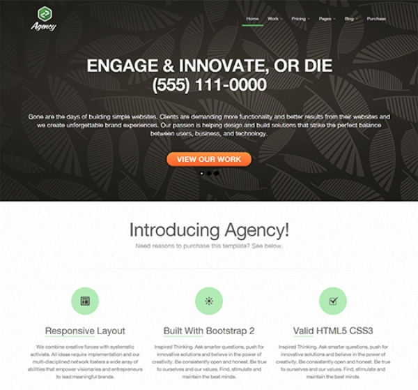 Responsive Business Portfolio Template Built Using Twitter Bootstrap Agency