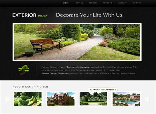 Template for Exterior Design Project with jQuery Slider