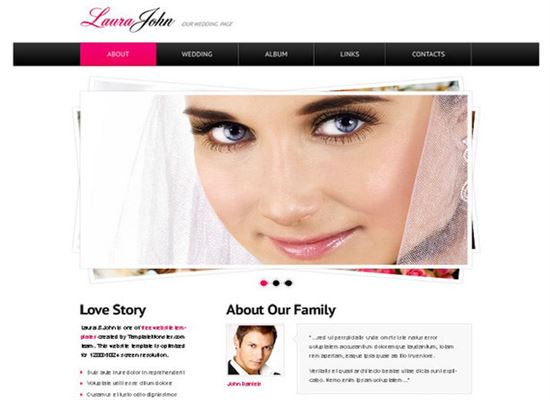 Wedding Website Template with jQuery Slider