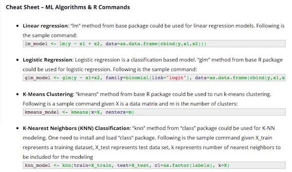 Cheat Sheet – 10 Machine Learning Algorithms & R Commands