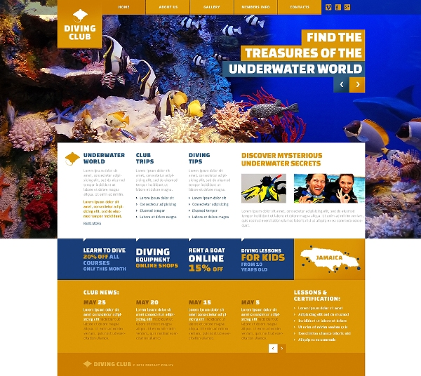Diving Club Website Template